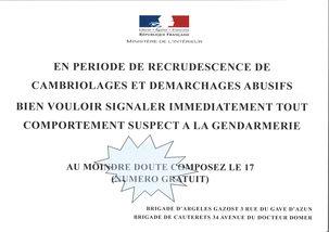INFO DE LA GENDARMERIE D'ARGELES-GAZOST