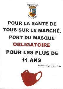 PORT DU MASQUE OBLIGATOIRE SUR LE MARCHÉ D'ARGELÈS-GAZOST